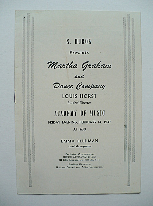 RARE 1947 MARTHA GRAHAM DANCE COMPANY PROGRAM, AARON COPLAND APPALACHIAN SPRING  (Image1)