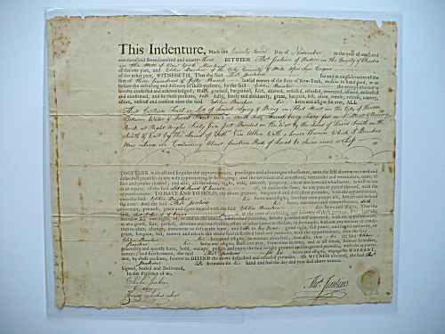 1793 THOMAS JENKINS ELIHU BUNKER NANTUCKET MASSACHUSETS HUDSON NEW YORK DOCUMENT (Image1)