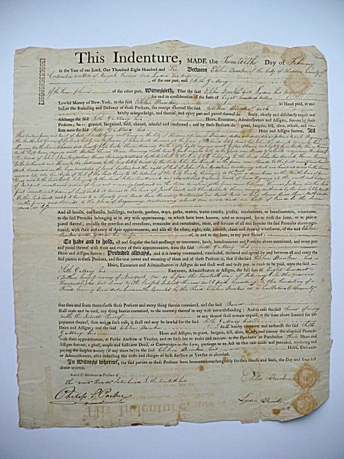 1806 ELIHU & LYDIA BUNKER NANTUCKET MASS. HUDSON NEW YORK SETH MACY DOCUMENT (Image1)