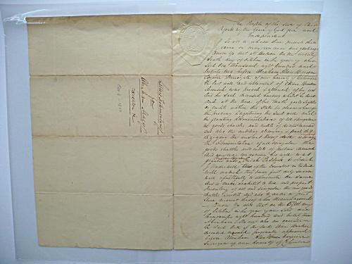 1822 ELIHU BUNKER NANTUCKET MASS. ABRAHAM VAN BUREN HUDSON NEW YORK DOCUMENT (Image1)