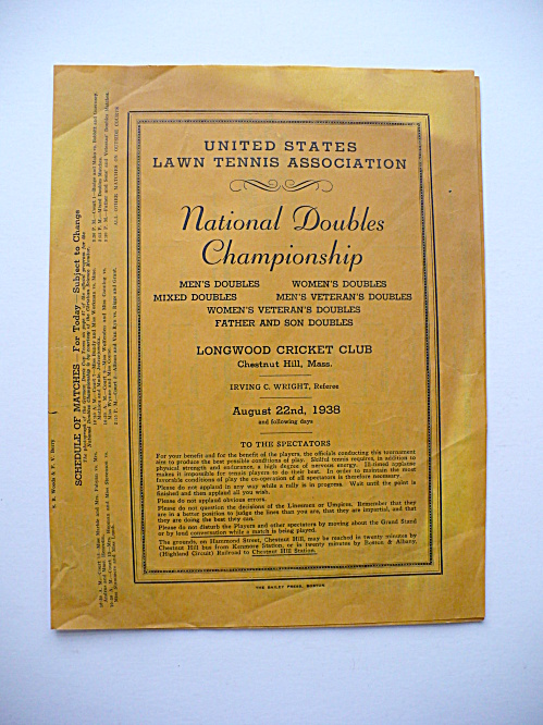 1938 DON BUDGE ALICE MARBLE TENNIS CHAMPIONSHIP SCHEDULE MASSACHUSETTS  (Image1)