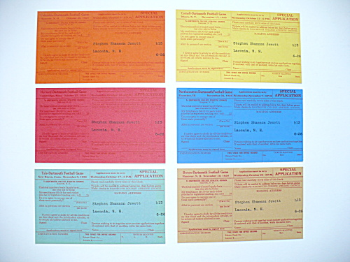 1928 UNUSED APPLICATIONS FOR DARTMOUTH COLLEGE FOOTBALL GAME TICKETS  (Image1)