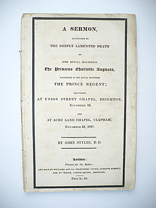 1817 Booklet Sermon Death Princess Charlotte Augusta Daughter Of King George Iv