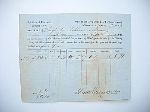 1849 MILWAUKEE WISCONSIN LAND PURCHASE REDEMPTION RECEIPT DOCUMENT (Image1)