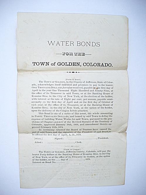 1879 GOLDEN COLORADO WATER BONDS PROMISSORY NOTE RECEIPT DOCUMENT (Image1)