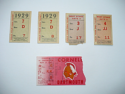 GROUP OF 5 DARTMOUTH COLLEGE FOOTBALL GAME TICKETS 1929-1945 (Image1)