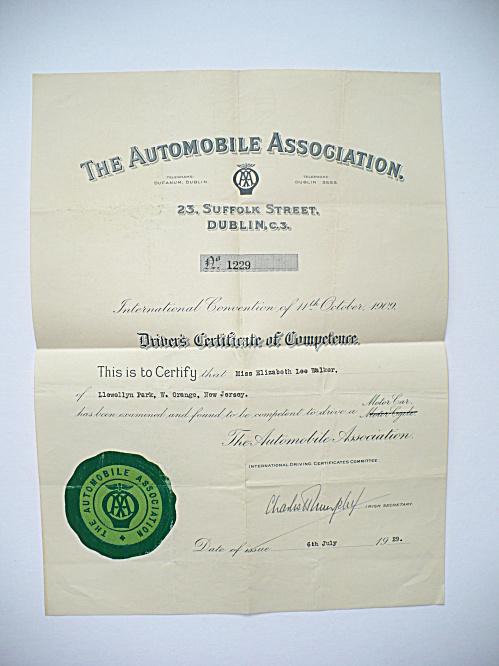 1929 INTERNATIONAL AUTOMOBILE MOTOR CAR DRIVING CERTIFICATE, DUBLIN IRELAND (Image1)