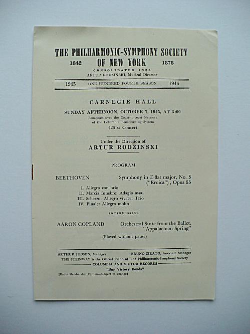 RARE 1945 CARNEGIE HALL MUSIC PROGRAM, APPALACHIAN SUITE AARON COPLAND  (Image1)