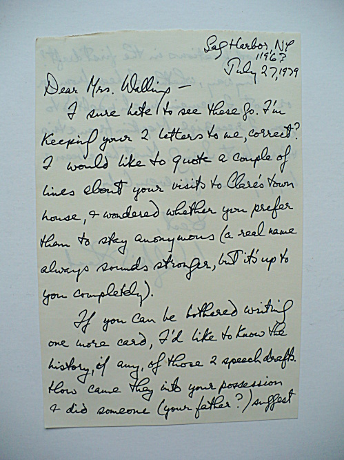 AMERICAN NOVELIST WILFRID SHEED LETTER REGARDING CLARE BOOTHE LUCE BOOK (Image1)