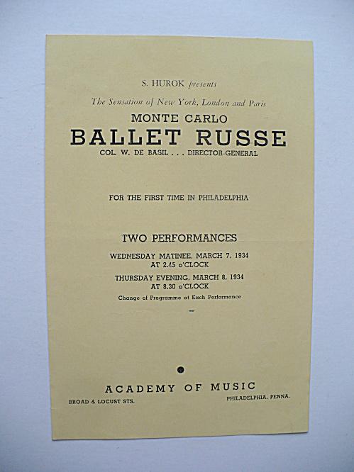 RARE 1934 BALLET RUSSE PROGRAM RENE BLUM, DE BASIL, MASSINE (Image1)