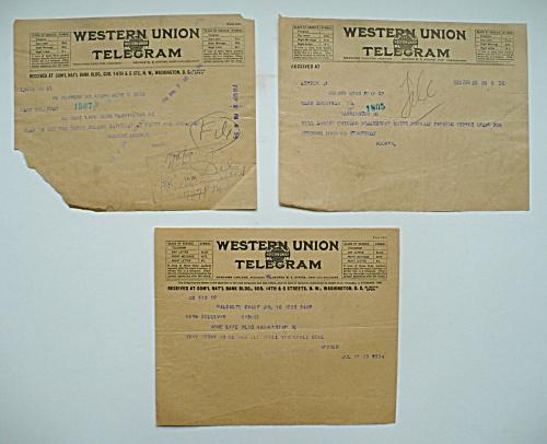 3 HERBERT HOOVER TELEGRAMS, COMMERCE SECRETARY, PRESIDENT  (Image1)