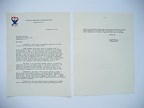 1933 HUGH JOHNSON AUTOGRAPHED LETTER, POLITICAL CONTENT, HENRY FORD (Image1)