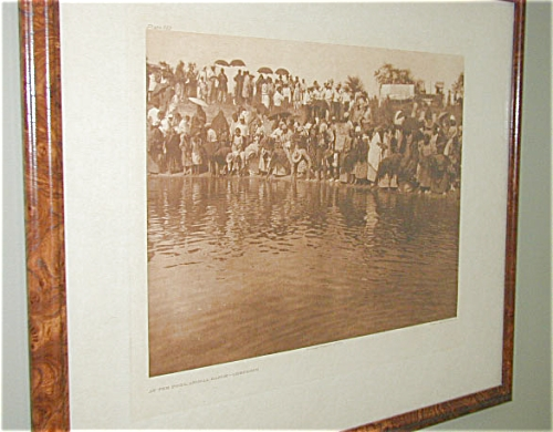 ORIGINAL EDWARD S. CURTIS AMERICAN INDIAN PHOTOGRAVURE, AT THE POOL CHEYENNE (Image1)
