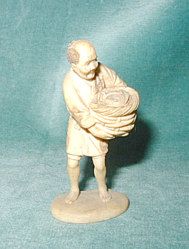 Ivory Okimomo, Man With Fish Basket, Signed