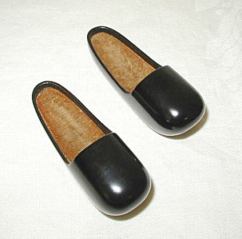 Pair Of Miniature Black Lacquered Shoes