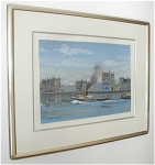 Click here to enlarge image and see more about item 240: ORIGINAL PAINTING, BOATS, BY MICHEL DELACROIX
