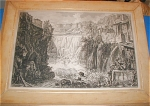 Etching depicting a view of the Grand Cascade at Tivoli titled 'Veduta Della Cascata Di Tivoli' done by Giovanni Piranesi in 1766.   