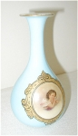 BLUE CASED GLASS PORTRAIT VASE