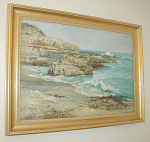 "Painting of a coastal setting by New York artist Charles Abel Corwin (1857-1938).  The painting was done using oil paints on canvas.  Approximate painted canvas dimensions are 26""w x 18""h.  Please inquire if you have questions or would like information on the cost to ship."