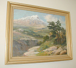 "Painting of a mountain setting by New York artist Charles Abel Corwin (1857-1938).  The painting was done using oil paints on canvas.  The painting is not signed but is by Corwin as the painting is being sold for a descendant of Corwin who has numerous paintings by the artist.  Approximate painted canvas dimensions are 24""w x 18""h.  Please inquire with further questions and/or if you would like a shipping quote."