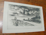 "Etching by French artist Jean Frelaut (1879-1954) depicting a landscaped road and house setting with storm clouds.  The etching is in excellent condition.  Approximate etched plate dimensions are 7.5""w x 4.75""h.  Approximate sheet dimensions are 8.75""w x 5.75""h.  Please inquire if you have questions and/or would like a shipping quote."