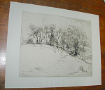 "Etching by German/American artist Ernest David Roth (1879-1964) by the title 'Tomb of Mary, Mother of Washington and Meditation Rock'.  The etching was done in 1928 as indicated by the signature and date along with Fredericksburg-Va. in the plate on the lower left corner of the etching.  The etching is in excellent condition.  Approximate etched plate dimensions are 12.25""w x 10""h.  Approximate sheet dimensions are 16""w x 12.75""h.  Please inquire if you have questions."