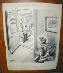 ORIGINAL POLITICAL CARTOON ART MINERS HEALTH, WILLIAM BILL CRAWFORD