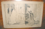 """Comic art Gibson Girl drawing done in ink after Charles Dana Gibson by C. M. Pinckney on tan toned paper.  Marked on the lower border 'C.D. Gibson By C. M. Pinckney'.  Measures 16""""w x 10.5""""h.  Please inquire if you have questions."""
