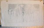 "Study of figures on a beach done by American artist Jared French (1905-1987 using graphite on paper.  Approximate image dimensions are 20""w x 11""h on a sheet measuring 26""w x 16""h.  Please inquire for additional information and/or a shipping quote."